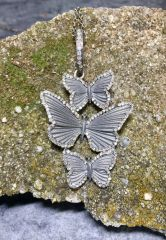 3 Tier Butterfly w Diamond Surround on Diamond and Silver chain