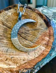 14K Gold and Brushed Sterling Silver Diamond Moon on Oxidized Sterling Silver Chain