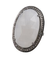 Moonstone Ring with Diamond Surround