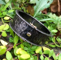 Wide Hammered Silver Bangle With Diamond Bands and Gold Clasp