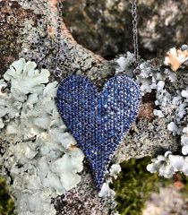 Elongated Blue Sapphire Heart on Oxidized Sterling Silver Chain