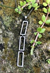 Three Vertical Diamond Rectangles on Oxidized Sterling Chain