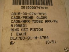 DETROIT DIESEL 71 SERIES RING SET 5198821 NOS
