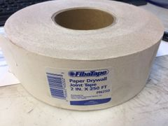 "1 CASE OF 12 ROLLS FIBATAPE 2"" X 250' PAPER DRYWALL JOINT TAPE PN250 NEW"