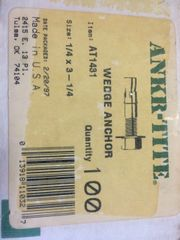 """1 BOX OF 100 ANKER-TITE WEDGE ANCHORS 1/4"""" X 3-1/4"""", AT1431 NOS"""
