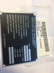 M1097A1 ID DATA PLATE 12343020, 9905-01-385-2639 NOS