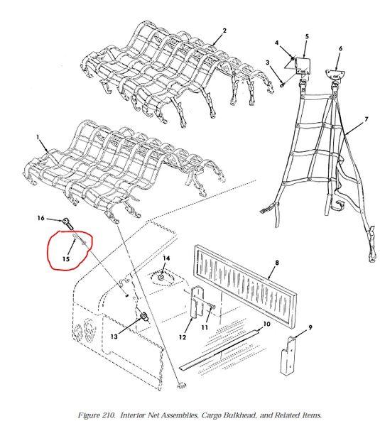 2  m998 interior net and cargo loops  strap fastener