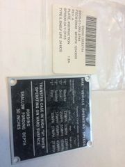 M998 OPERATING INSTRUCTION PLATE 12343058, 9905-01-393-3794 NOS