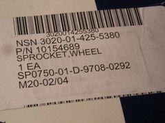 6.2L, 6.5L WHEEL SPROCKET 10154689, 3020-01-425-5380 NOS