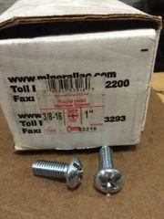 "1 BOX OF 100 MINERALLAC CULLY MACHINE SCREWS 3/8""-16 x 1"" NEW"