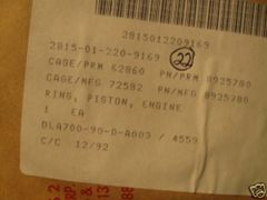 DETROIT DIESEL 53 SERIES PISTON RING 8925780 NOS