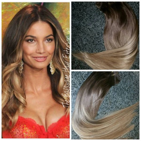 210 Caramel Brown Balayage Hair Extensions Clip In Set Balayage