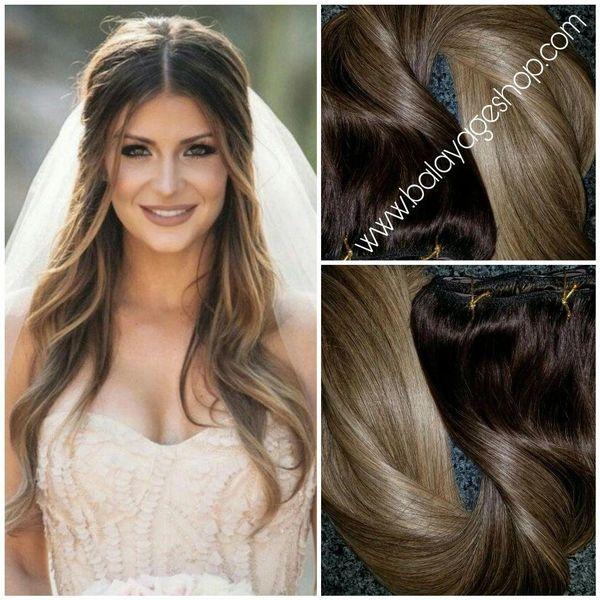 2822 Wedding Goddess Hair Extension Clip In Set Balayage Hair