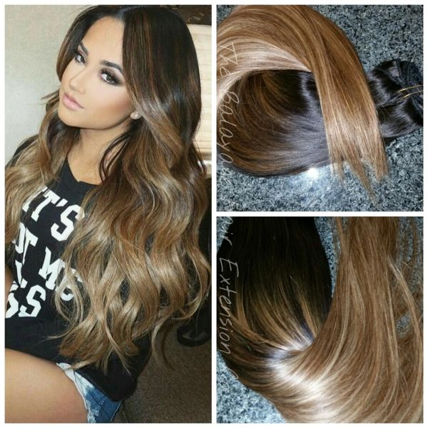 1b627 Dark Sunkissed Caramel Clip In Extension Set Balayage