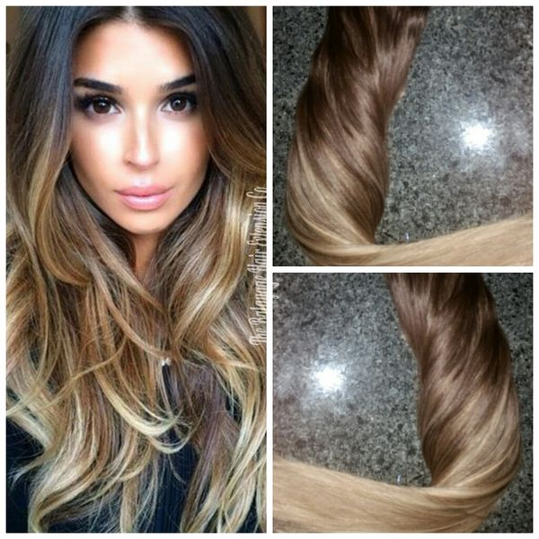 41822 Medium Brown Baby Balayage Extensions Clip In Set