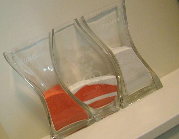 Custom Glass Nesting Vases Unity Sand Ceremony Wedding Set All