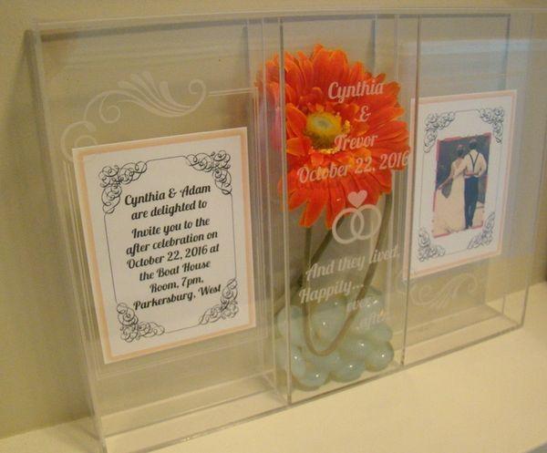Custom Printed Acrylic Keepsake Shadow Photo Frame Box Wedding Gi