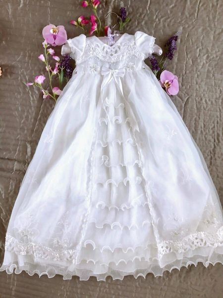 6ceca97f6a9 Baby Girls Harriet White Christening Gown Couche Tot Style 9500 ...