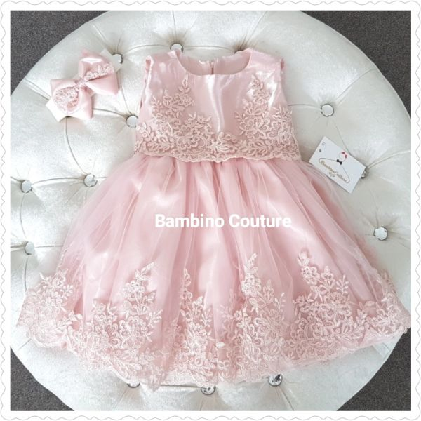 Girls Special Occasionflower Girl Dress Dusky Pink Lace Tutu