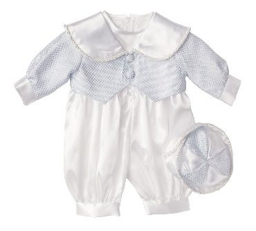 c2b67b5a0 Baby Boys Jake White and Blue Romper Christening Suit. Vivaki ...