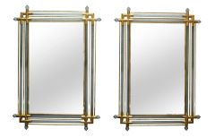 Venetian Brass and Spiral Murano Glass Wall Mirror - A Pair