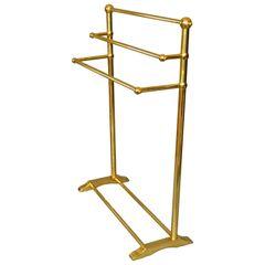 Mid-Century Modern Brass Pedestal Three Tier Towel Rack Made in England