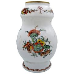 French Sevres Hand Painted Opaline Glass Vase with Gold Trim and Flower Motif