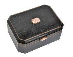 Maitland Smith Tessellated Bone over wood Box with Brass Inlay
