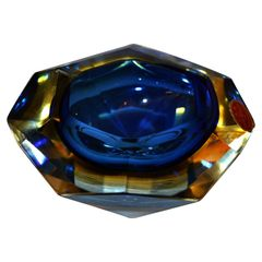 Multi Faceted Murano Glass Ashtray attributed to F. Poli by Vetri Molati Murano
