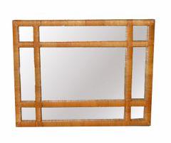 Mid-Century Modern Rectangular Handwoven Rattan Wicker Wall Mirror