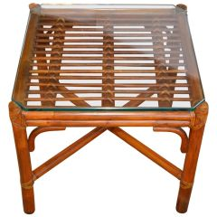 McGuire Bamboo and Leather Glass Side Table Mid-Century Modern
