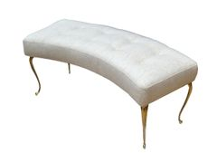 Italian Curved Bench with Brass Legs