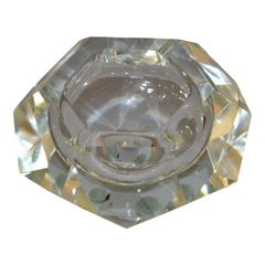 Clear Multi Faceted Murano Glass Ashtray, Bowl Attributed to Flavio Poli, Italy