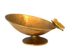 Bronze Footed Bowl With Butterfly