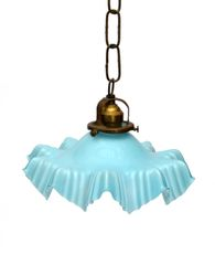 French Blue Opaline Glass Ruffled Ceiling Light with Bronze Fitting