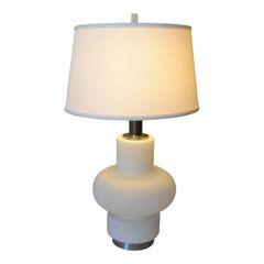 Italian Opaline Glass and Chrome Table Lamp