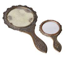 Antique Handheld Bronze Mirrors seashell