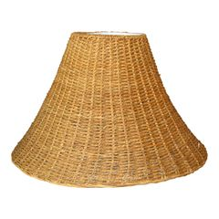 Mid-Century Modern Round Hand-Woven Rattan, Wicker White Lined Fabric Lamp Shade