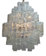 Huge 7 Tier Italian Crystal and Chrome Chandelier