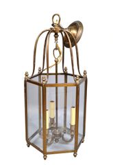 Rustic Brass and Glass Lantern Three-Light Hall Lantern