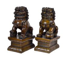 Hand Carved wooden Foo Dogs, Bookends - A Pair