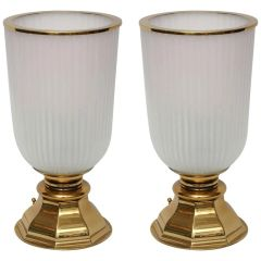Glass and Brass Urn Table Lamps, Pair