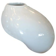 Organic Modern White Ceramic Water Bag Vase Made by Spin Ceramics Shanghai