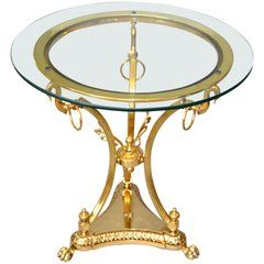 Hollywood Regency Cast Brass Claw Feet Round Glass Side Table