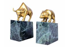 Brass Bull & Bear Bookends Marble Bases
