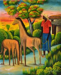 G.J Baptiste Acrylic Painting of Haitian Country Scene