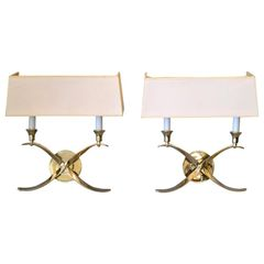 Elegant Crossed Scrollwork Stainless Steel Double Sconces & Paper Shades - Pair