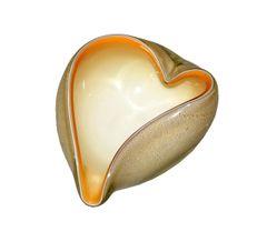 Murano Art Glass Beige & Gold Flecks Catchall, Bowl Inspired by Alfredo Barbini