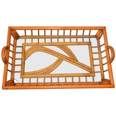 40s Boho Chic Handcrafted Bamboo Wood & Glass Table Tray, Serving Tray, Platter