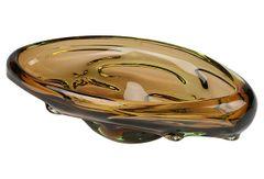 Heavy Amber Murano Bowl